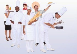 Catering professionals, photo-montage